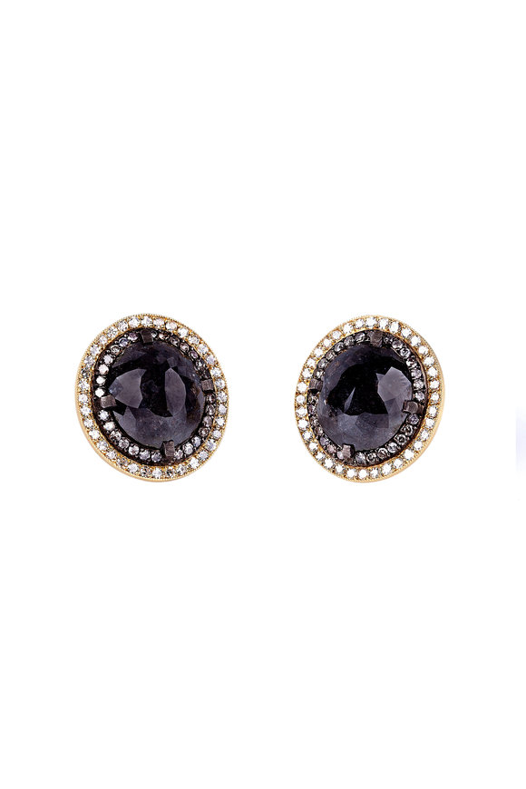 Sylva & Cie Gold & Silver Rough Diamond Button Earrings