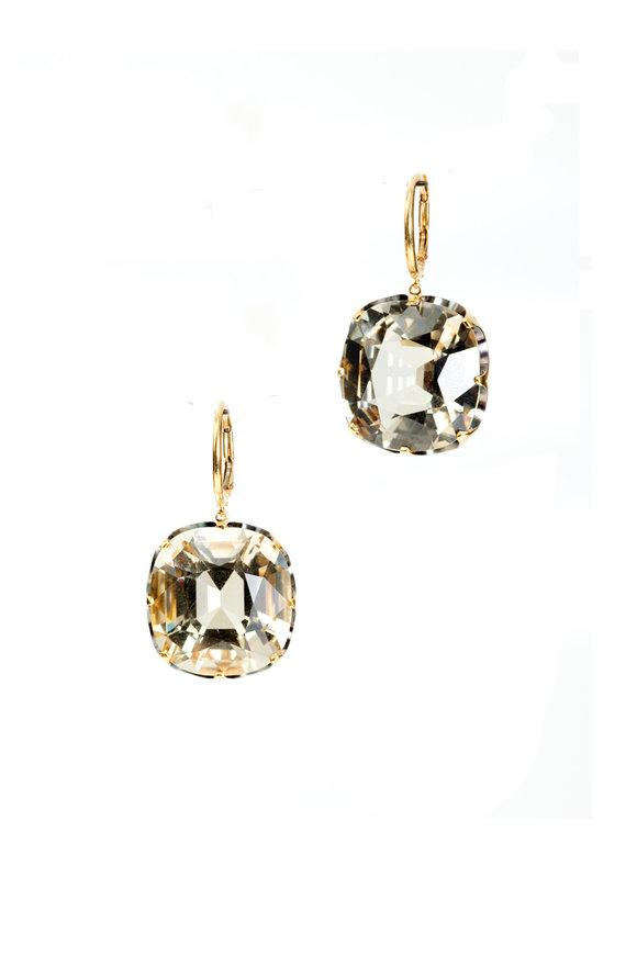 Sylva & Cie 18K Yellow Gold Yellow Quartz Drop Earrings