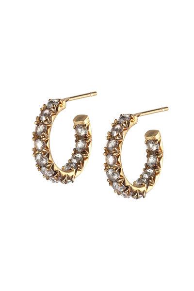 Sylva & Cie - 18K Yellow Gold Gray Diamond Hoop Earrings