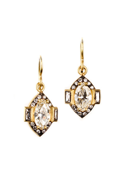 Sylva & Cie - Yellow Gold Marquee & French Cut Diamond Earrings