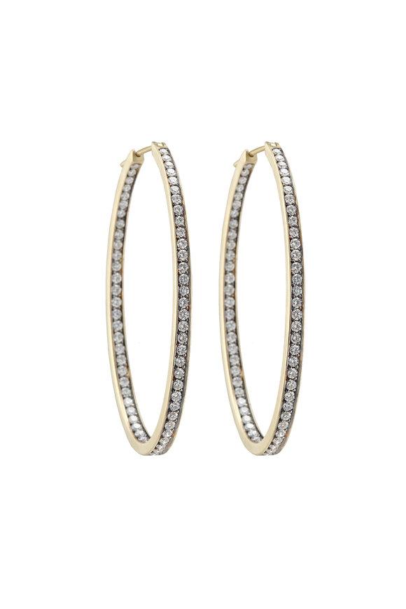 Sylva & Cie 18K Gold White Diamond Hoop Earrings