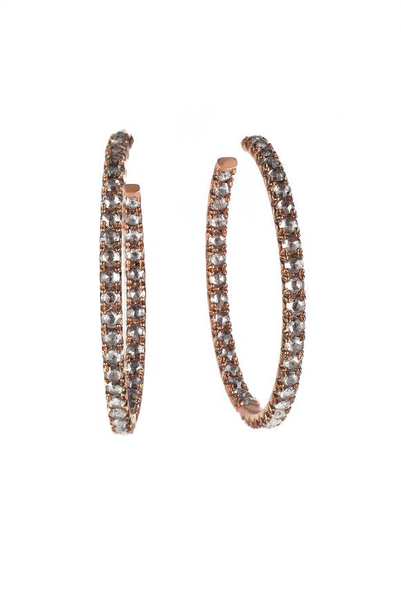 Sylva & Cie 18K Yellow Gold Rough Diamond Hoop Earrings