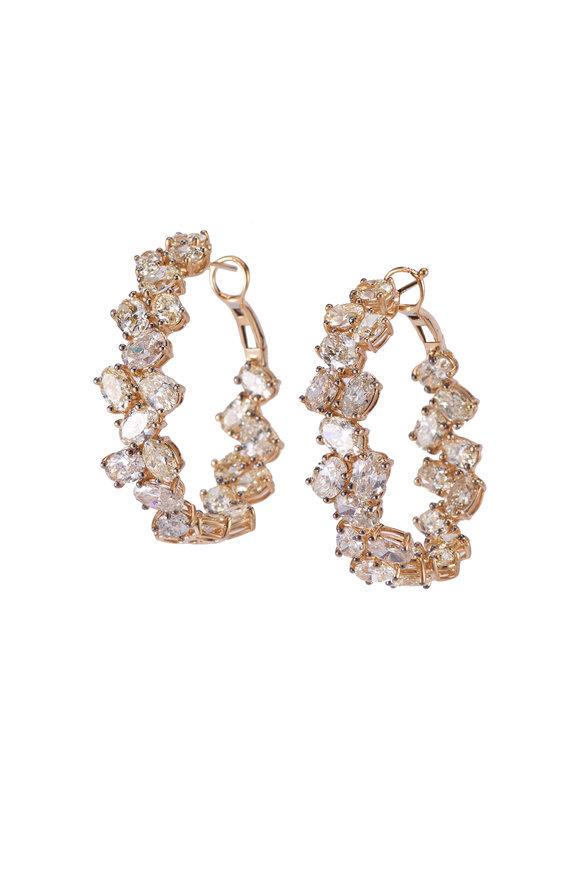 Sylva & Cie 18K Yellow Gold Mixed Diamond Oval Hoop Earrings
