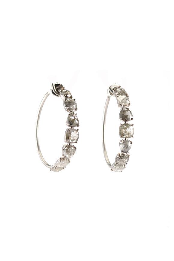 Sylva & Cie 18K White Gold Half Diamond Hoop Earrings