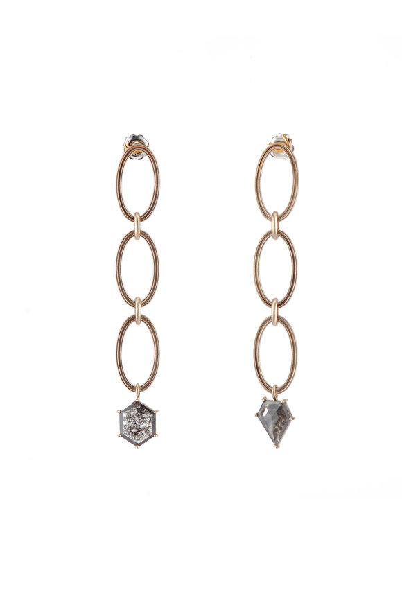 Sylva & Cie 18K White Gold Mismatch Diamond Link Earrings