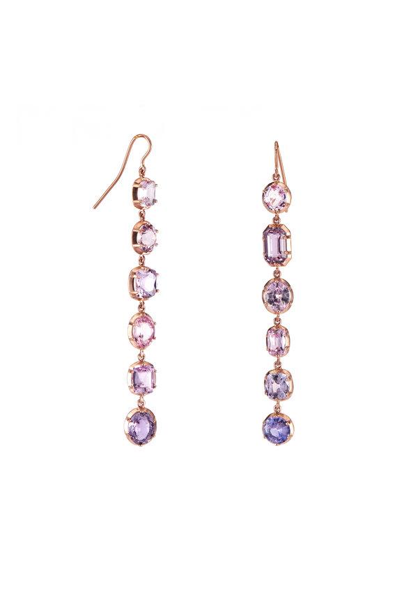 Sylva & Cie 14K Rose Gold Pink Sapphire Drop Earrings