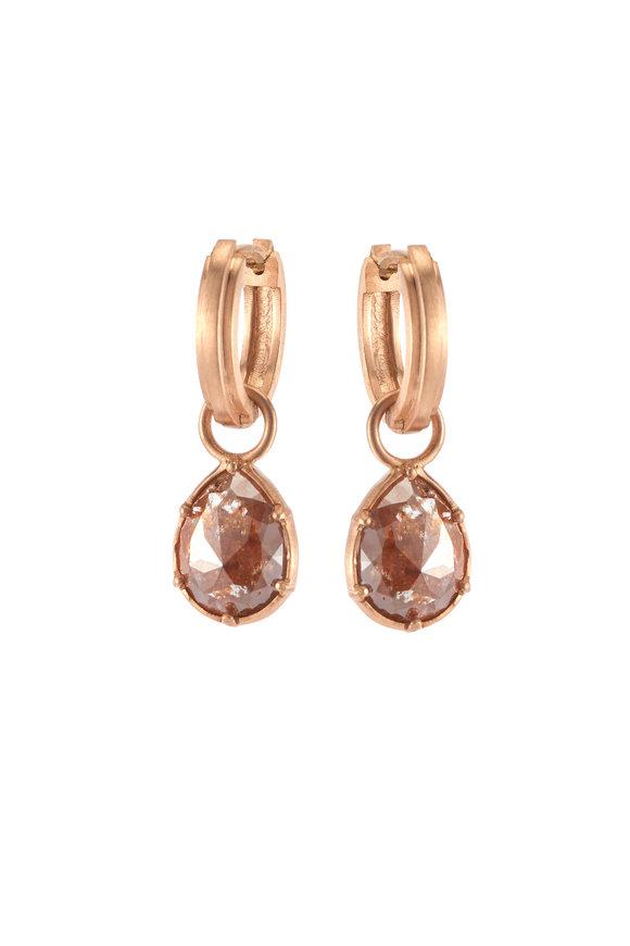 Sylva & Cie 18K Rose Gold Pearshape Rough Diamond Earrings