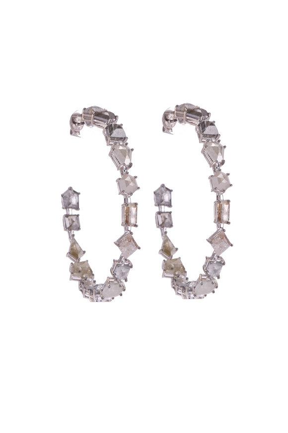 Sylva & Cie 18K White Gold Rough Diamond Hoop Earrings