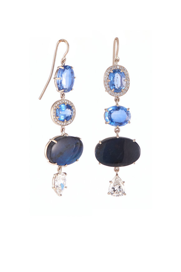 Sylva & Cie Sapphire, Spectrolite & Diamond Earrings