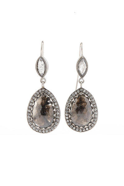 Sylva & Cie - Platinum Rough Diamond Drop Earrings