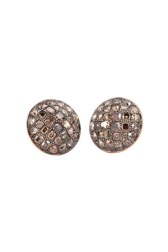 Sylva & Cie 14K Rose Gold Champagne Diamond Button Earrings