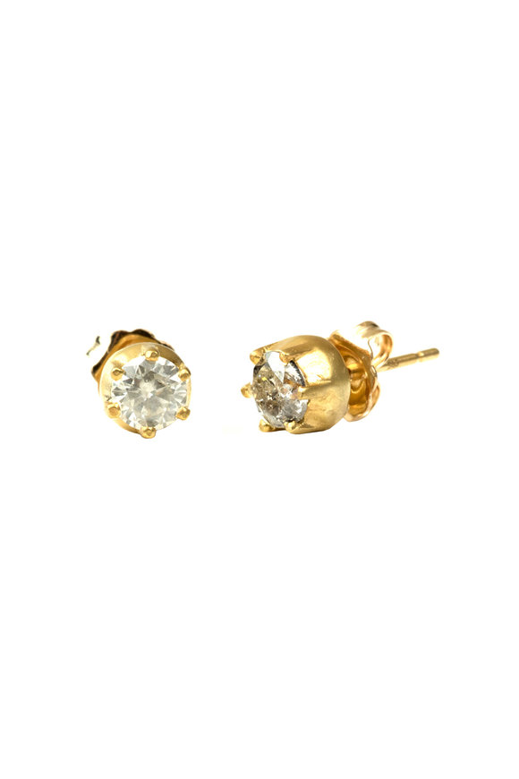 Sylva & Cie 18K Yellow Gold Gray Diamond Studs