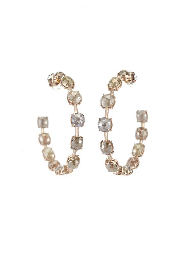 Sylva & Cie 18K White Gold Rough Cut Diamond Hoop Earrings