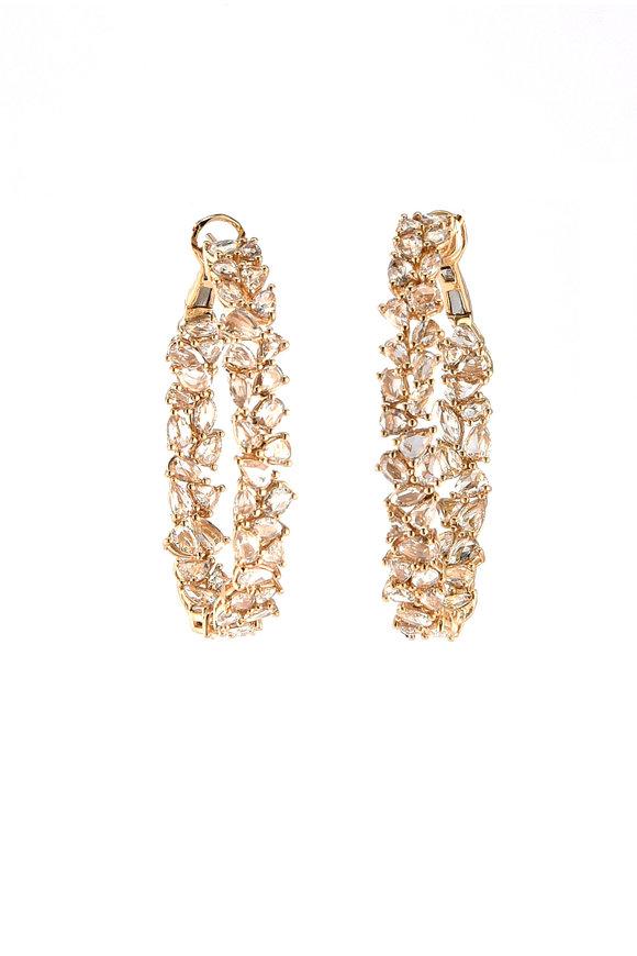 Sylva & Cie 18K Yellow Gold Diamond Hoop Earrings
