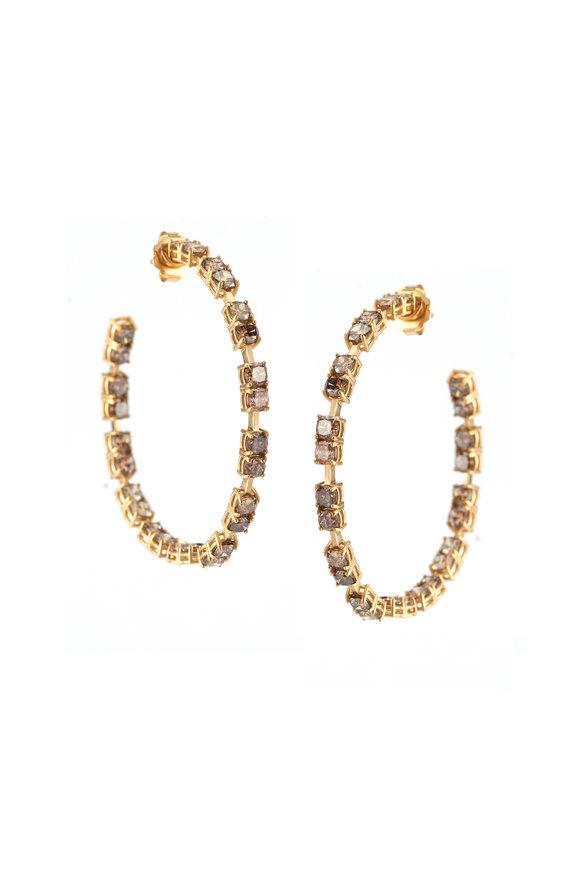 Sylva & Cie 18K Yellow Gold Champagne Diamond Earrings