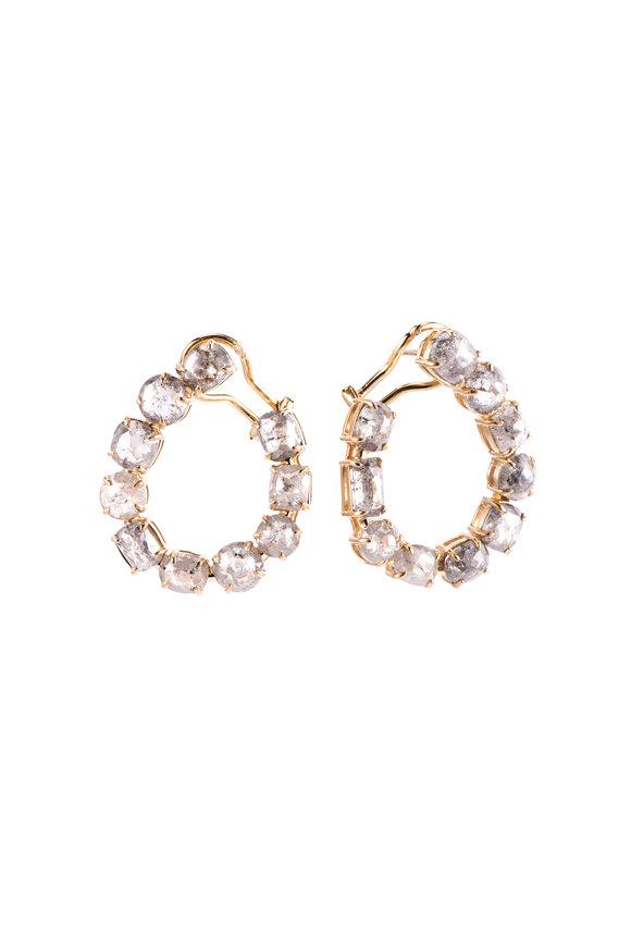 Sylva & Cie 18K Yellow Gold Gray Diamond Hoop Earrings