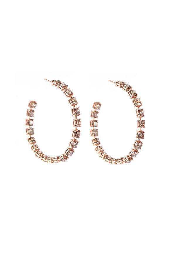 Sylva & Cie 14K Rose Gold Colored Diamond Hoop Earrings