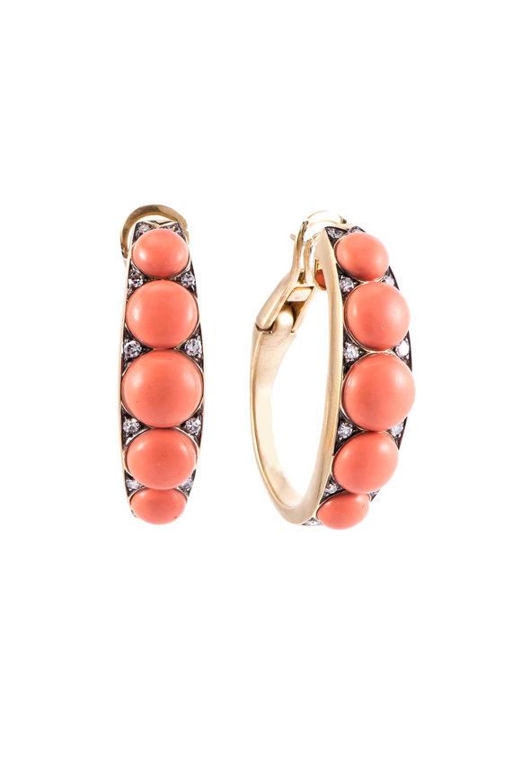 Sylva & Cie 18K Yellow Gold Coral Bead Half Hoop Earrings