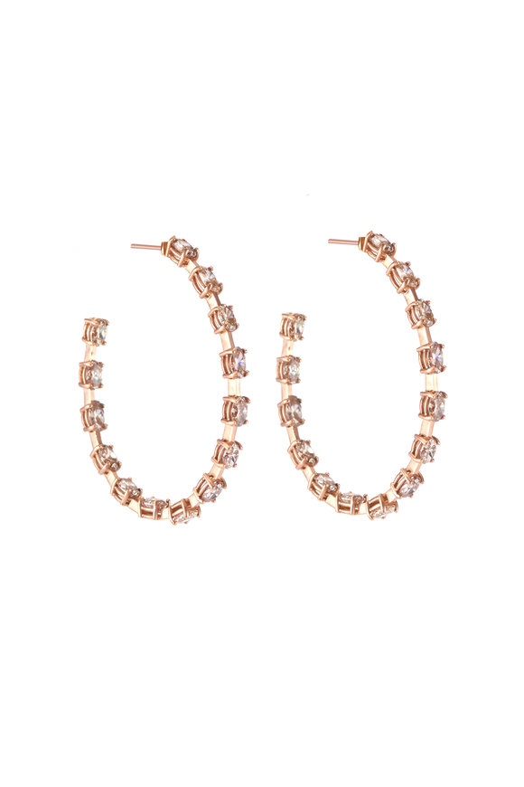 Sylva & Cie 18K Rose Gold Diamond Hoop Earrings