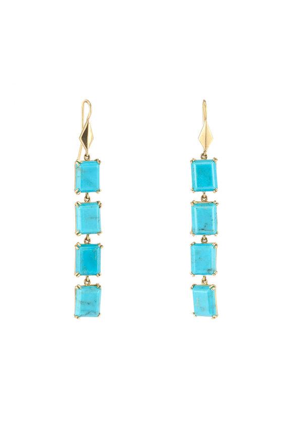 Sylva & Cie 18K Yellow Gold Turquoise Drop Earrings