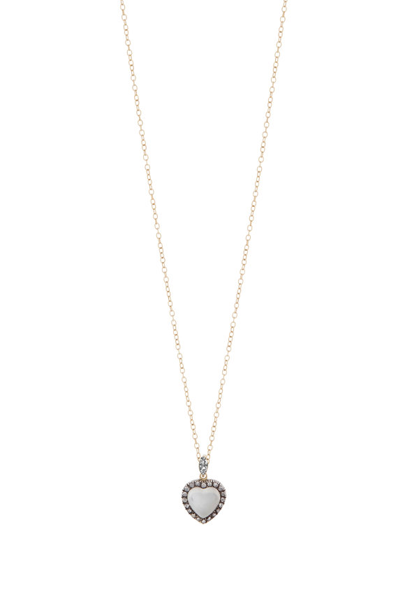 Fred Leighton Yellow Gold Moonstone & Diamond Heart Necklace