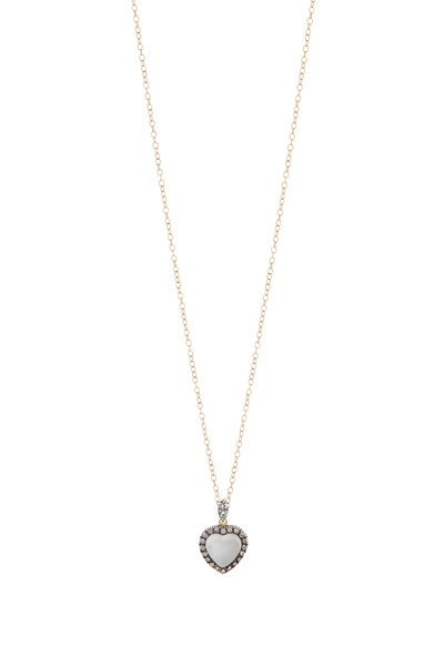 Fred Leighton - Yellow Gold Moonstone & Diamond Heart Necklace