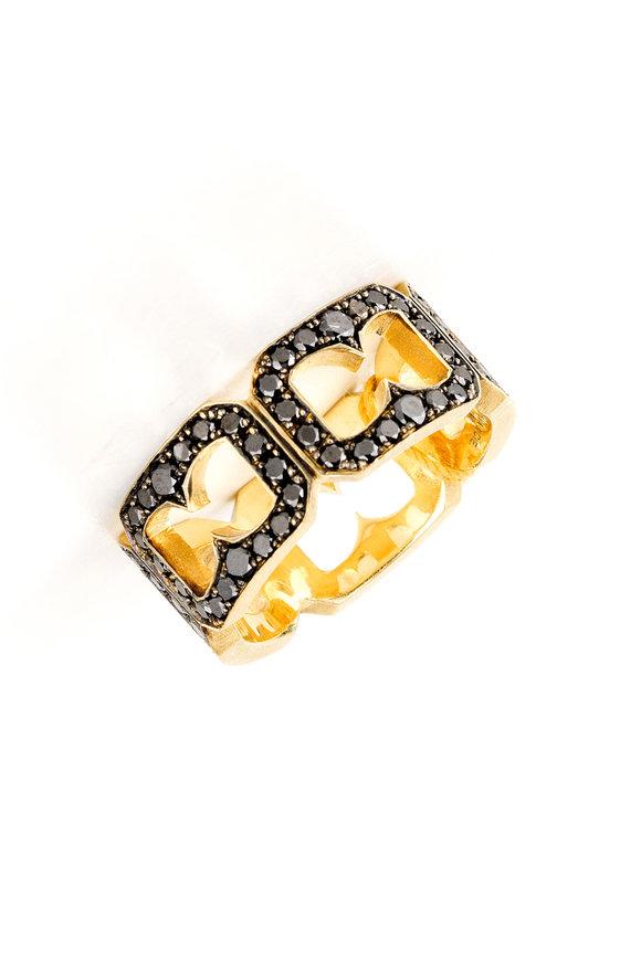 Sylva & Cie 18K Yellow Gold Black Diamond Buckle Band
