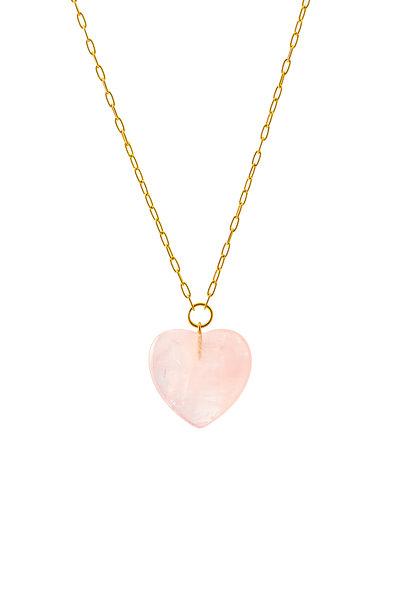 Haute Victoire - 18K Gold Rose Quartz Heart Pendant Necklace