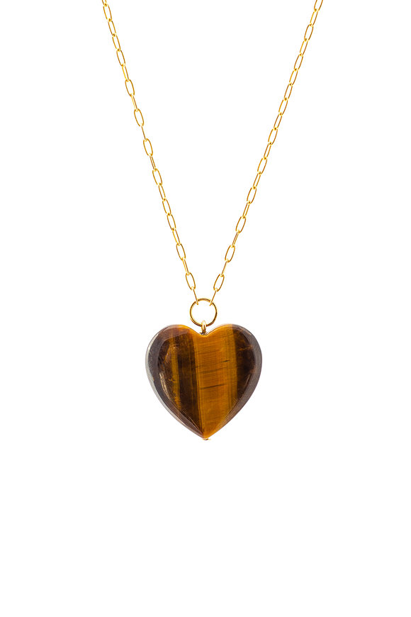 Haute Victoire 18K Gold Tigers Eye Heart Pendant Necklace