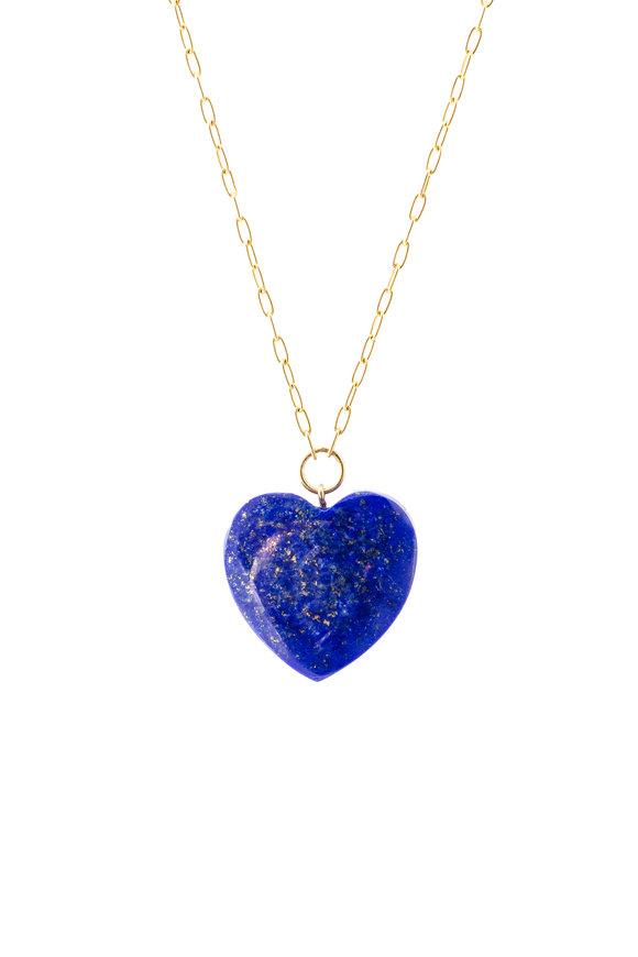 Haute Victoire 18K Gold Lapis Heart Pendant Necklace