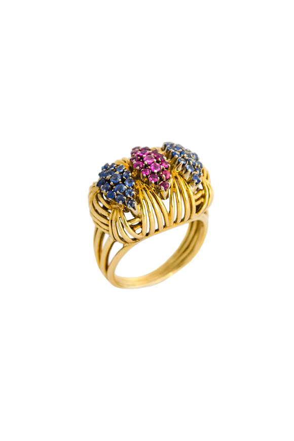 Haute Victoire 18K Yellow Gold Basketweave Ruby & Sapphire Ring