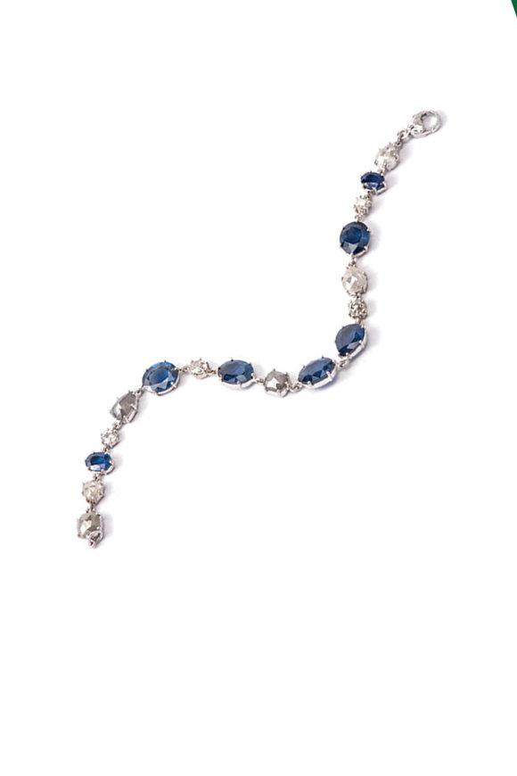 Sylva & Cie Grey Diamond & Rough Sapphire Bracelet
