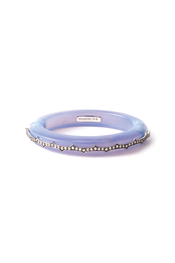 Sylva & Cie Blue Chalcedony Cuff With Diamonds