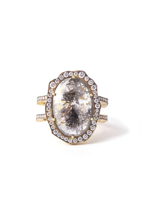 Sylva & Cie Rough Cut Oval Diamond Double Shank Ring