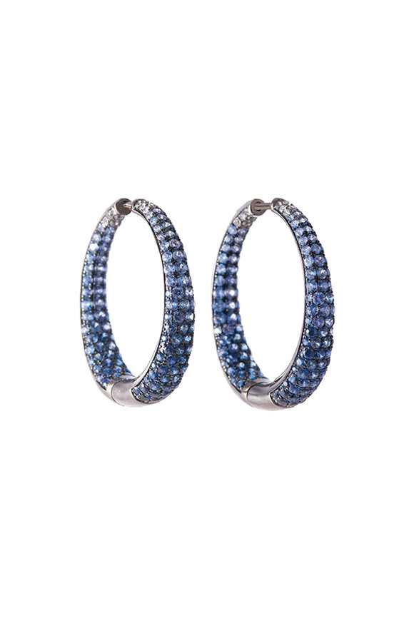 Sylva & Cie Blue Sapphire Oval Hoop Earrings