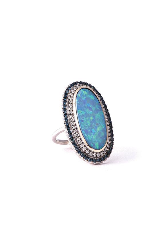 Sylva & Cie Oval Opal Diamond & Sapphire Ring