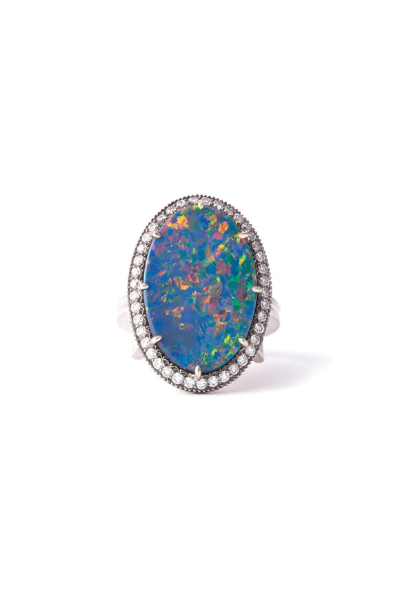 Sylva & Cie Gypsy Opal Ring With Diamonds
