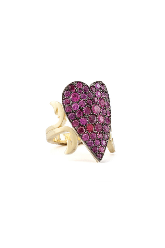 Sylva & Cie Ruby Heart Ten Table Ring