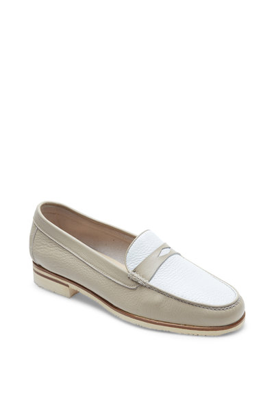 Gravati - Gray & White Leather Penny Loafer
