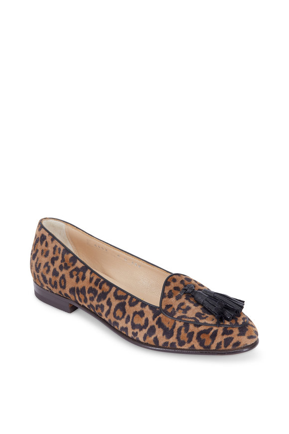 Gravati Brown Leopard Print Suede Tassel Loafer