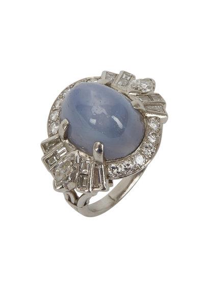 Fred Leighton - Platinum Star Sapphire Diamond Retro Cocktail Ring