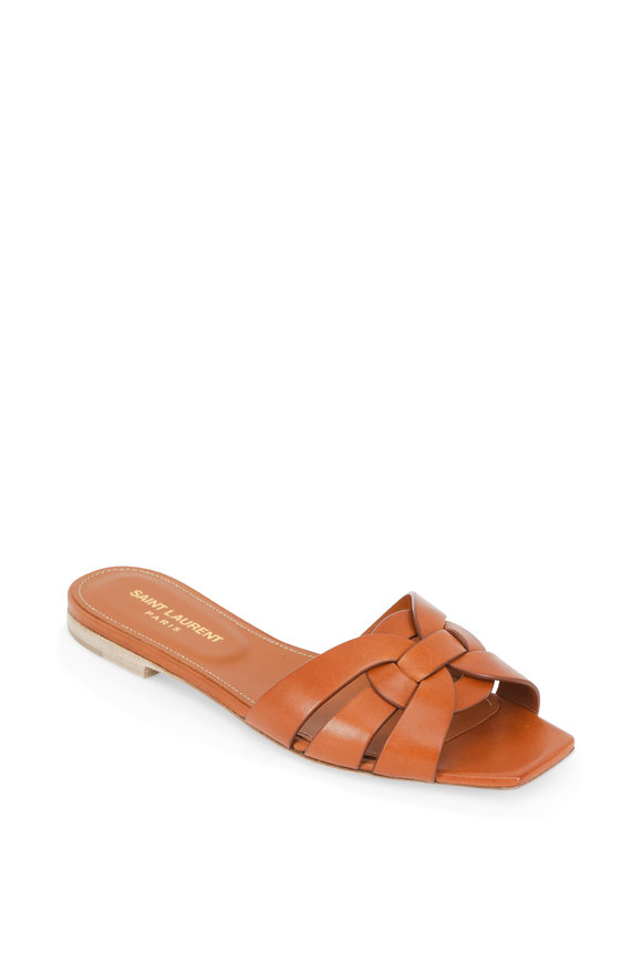 Saint Laurent Nu Peids 05 Amber Woven Leather Slide