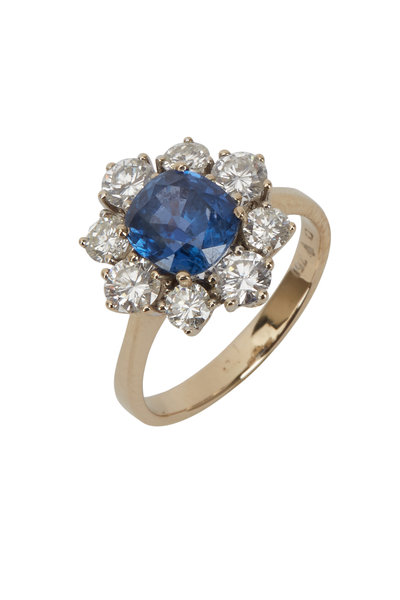 Fred Leighton - Yellow Gold Sapphire & Diamond Cluster Ring
