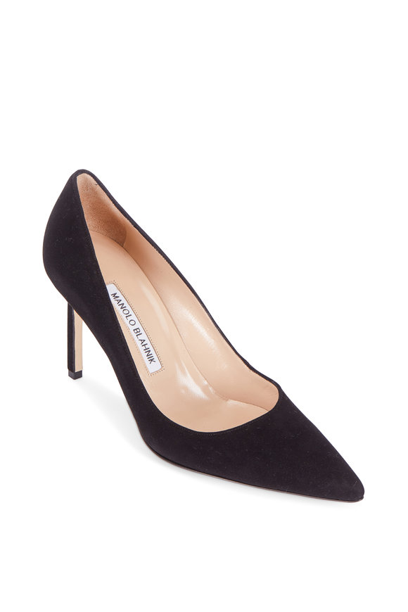 Manolo Blahnik Lisa Black Suede Pump, 90mm