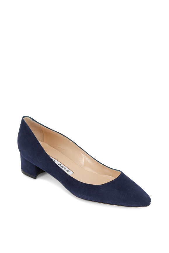 Manolo Blahnik Listony Navy Blue Suede Pump, 30mm