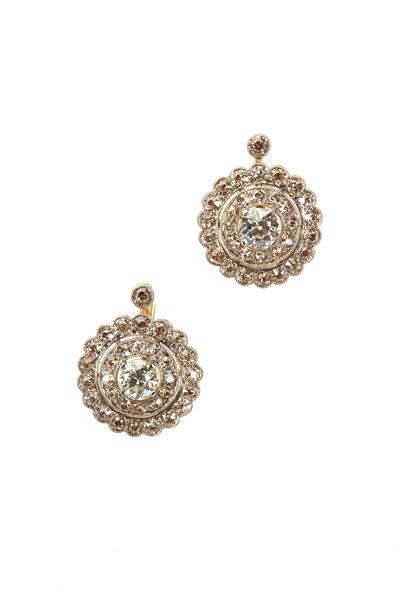 Fred Leighton - Gold Diamond Cluster Earrings