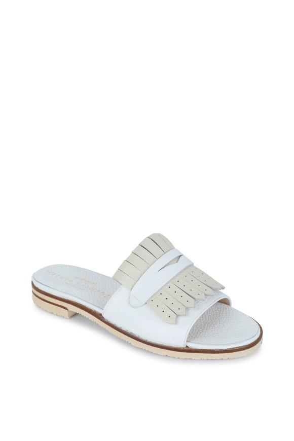 Gravati White & Beige Kilty Leather Slide