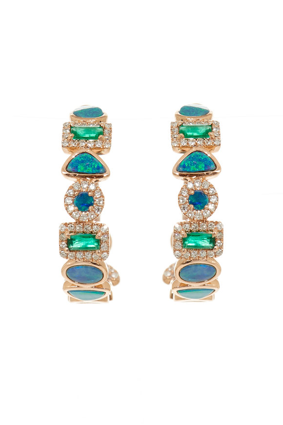 Kai Linz Rose Gold Pavé, Emerald & Opal Hoop Earrings