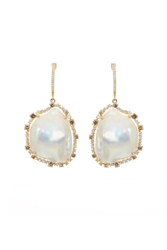 Kai Linz 14K Yellow Gold Diamond & Pearl Drop Earrings