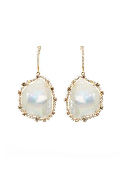 Kai Linz - 14K Yellow Gold Diamond & Pearl Drop Earrings